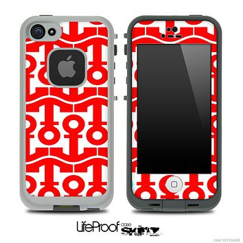 White and Red Collage Skin for the iPhone 5 or 4/4s LifeProof Case