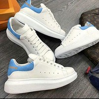 ALEXANDER MCQUEEN Tide brand men and women models simple sports and leisure Velcro white shoes(Velvet tail) blue