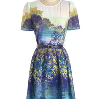 ModCloth Quirky Mid-length Short Sleeves A-line Never Never Landscape Dress