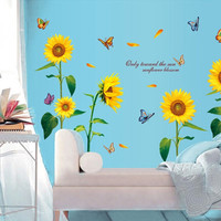 The New Warm Living Room Bedroom Backdrop Sunflower Flowers Wall Stickers Wallpaper Waterproof Removable SM6