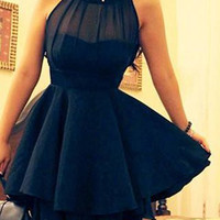 Black Sleeveless Mesh Flounce Dress