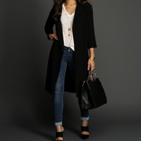 Black Up A Notch Trench Coat