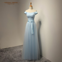 Cap Sleeve Long Bridesmaid Dresses Sky Blue Tulle Wedding Party Dress Plus Size 2016 New Arrive