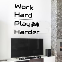 Vinyl Wall Decal Quote Work Hard Play Harder Joystick Gaming Teen Boys Room Stickers Mural 22.5 in x 28 in gz244