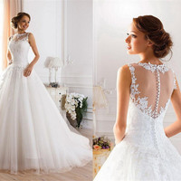 9036 Lace White Ivory A-Line Wedding Dresses for bride gown Appliques Vintage plus size maxi Customer made size 2-28W