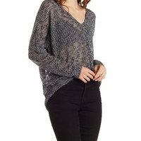 Marled Oversized V-Neck Hacci Pullover Top