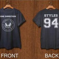 one direction shirt 2 side print digital front side and back side harry styles 1D tshirt  black white colors clothing