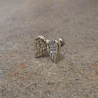 Cartilage ring, Silver Angel Wings with surgical steel Barbell 16G, Helix ring, Ear lob, Tragus Ring, 16 Gauge 1.2 mm