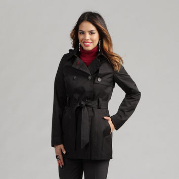 Tommy Hilfiger Women's Belted Rain Trench Coat   Overstock.com