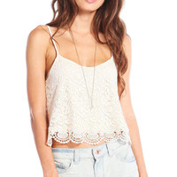 EXPOSED BACK FLORAL LACE CROP TOP - BEIGE