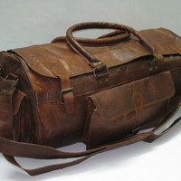 """Handmade 24"""" Leather Duffel sports gym utility travel cabin weekend outing overnight bag"""