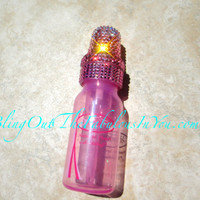 Swarovski BEDAZZ:ED Baby Bottle by Crystal Fetish Crystallized in PINK Fading Effect
