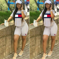 TOMMY HILFIGER Classic Hot Sale Women Casual Print Short Sleeve Top Shorts Set Two Piece Sportswear Blue