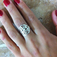 Initial Circle Monogram ring - Personalized name ring 925 Sterling Silver - Christmas Gift