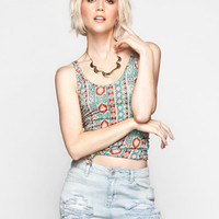 Full Tilt Essential Printed Womens Double Scoop Tank Teal Green  In Sizes