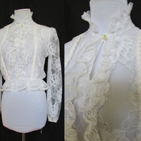 Vintage Lace Blouse High Collar Victorian Style 80s Med
