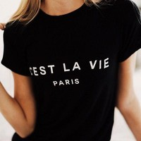 C'EST LA VIE Paris France ladies tee women funny tumblr graphic tshirt summer style outfit tops t shirt t-shirts