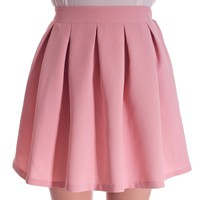 Pleated Full Mini Skirt In Pastel Colors - Pink