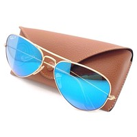 Cheap Ray Ban 3025 112/4L Matte Gold Blue Mirror Polarized Authentic Sunglasses New outlet