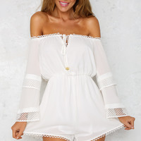 Hold Me Tonight Playsuit White