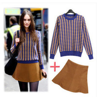 Autumn Women High Waisted Round Necked Mini Skirt Dress Sweatshirt Suit Outfit a13050