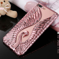 Electroplate TPU Swan back phone Case For iPhone 6 6s plus 7 7plus soft cover Cases clear 3D Anaglyph Swan Angel wings-0410