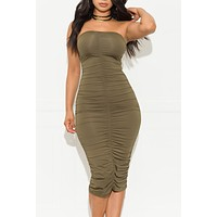 Give It A Try Strapless Dress Olive