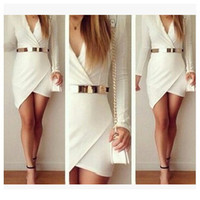 Long Sleeve Wrap Skirt Dress