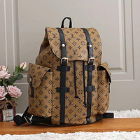 LV Louis Vuitton fashion backpack leather bag large capacity backpack khaki