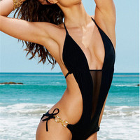 Summer Swimsuit Beach Hot New Arrival Swimwear Deep V Black Sexy Hollow Out Backless Bikini [6048180609]