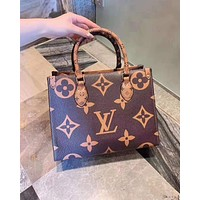 LV hot selling lady big flower new material matching color shopping bag shoulder bag High quality Coffee
