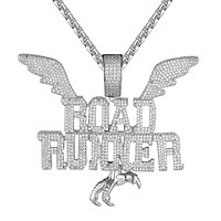 Road Runner Flying Wings Micro Pave Hip Hop Pendant Chain