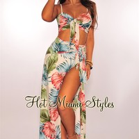 Cream Palm Print Tie Up Slit Maxi Two Piece Set