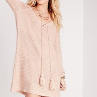 Missguided - Long Sleeve Knitted Shift Dress Pink