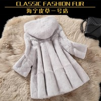 Whole skin real rabbit fur winter coat outwerwear women A line loose fit natural fur coats with a hood 2016 autumn g8n26