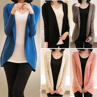 Women Knitted Sweater Shawl Outerwear Jacket Long Sleeve Coat Knitwear  SV00578 = 1902456068