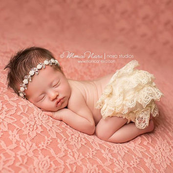 Newborn Photography Prop Lace Bloomers Grey Bloomer and Headband Diaper Cover Baby Girl Prop Baby Bloomers