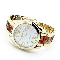 Flower print metal watch (2 colors)