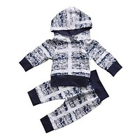 Winter Baby Clothing born Baby Boy Girls Infant Long Sleeve Hooded T-shirt Tops+Pants Outfits