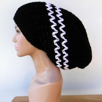 Long black white slouchy large Tam Dreadlock Hippie Beanie Dread Hat handmade crochet unisex