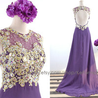 Purple Long Prom Dresses,Open back Lace with Crystal Long Prom Gown, Lace Long Formal Dresses, Long Chiffon & Lace Prom Gown