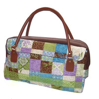 Earth Song Patchwork Handbag with leather handles