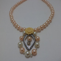 Peach, Pearl, Yellow, Rose, Silver, Necklace, Earrings, Valentine's Day, Matching, Set