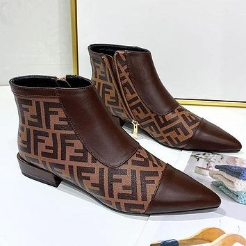 FENDI Fashion Short Boots New Pointed Martin Boots Low Heel Zipper Women's Boots Shoes