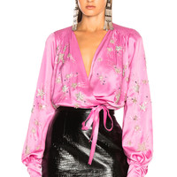 ATTICO Embroidered Top in Pink | FWRD