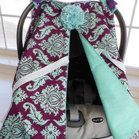 Infant Car Seat canopy cover Cuddler -- MADE TO ORDER -- jd Plum & Teal Damask -- purple teal turquoise