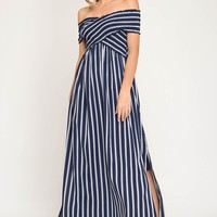 Crisscross Top Off the Shoulder Striped Dress with Side Slits - Navy  ONLY 1 M LEFT