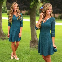 Teal The Show Dress