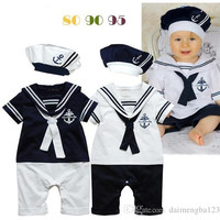 15pcs 2015 Navy sailor style rompers baby boy toddlers one piece bodysuit with hat navy costume baby jumpsuit baby one-piece clothing D041