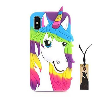 3D Soft Silicone Unicorn Case for iPhone X